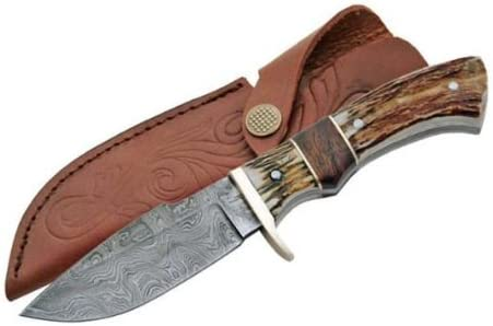 Damascus Steel Game Skinner Stag Handles