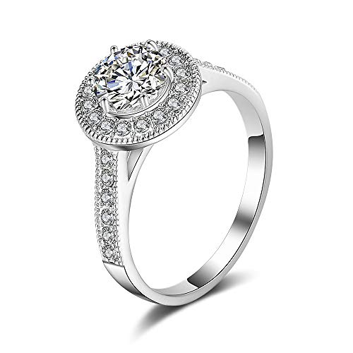 Mytys Cubic Zirconia Simulated Diamond Anniversary Wedding Bands for Lady Girl Fashion Statement Jewelry(Size 10)