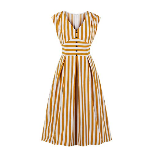 TIFENNY Vertical Stripes Printing Dresses for Women Sleeveless V-Neck Button Vintage Casual Dress Students Daily Wear Dress Yellow