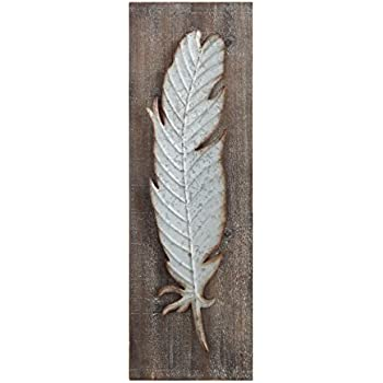 Creative Co-op Wood Wall Décor with Distressed Metal Feather