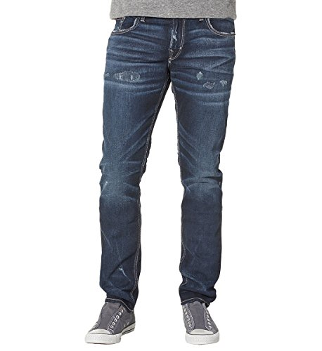 Dark Blue Wash Slim Leg Jeans (Silver Jeans Men's Jeans Co Taavi Slim Fit Super Slim Leg Dark Wash Jean, Indigo,)