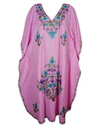 Mogul Womens Caftan Kashmiri Embroidered Kimono Housdedress Designer Kaftan
