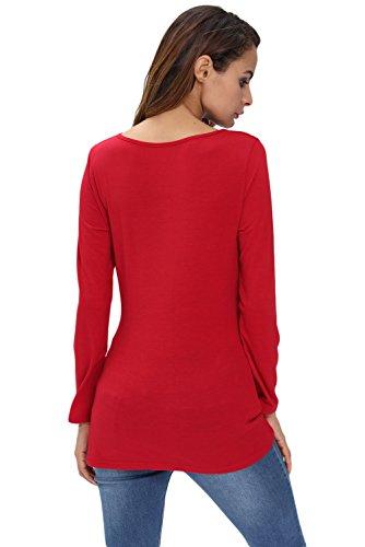 Neuf femmes Rouge Wrap avant Top T-shirt Pull décontractés Taille S UK 8–10EU 36–38