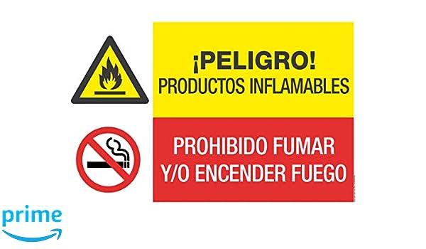 Cartel combinado PELIGRO PRODUCTOS INFLAMABLES/PROHIBIDO ...