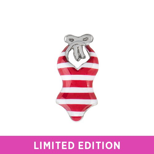 Origami Owl ~ RED STRIPED SWIMSUIT CHARM - LIMITED EDITION