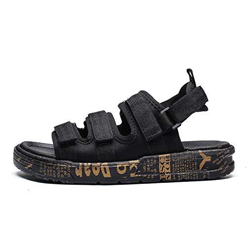 Summer Mens Shoes Gladiator Sandals Designers Platform Comfortable Beach Sandals Male Canvas Men Sandals,Black 1,9.5 -