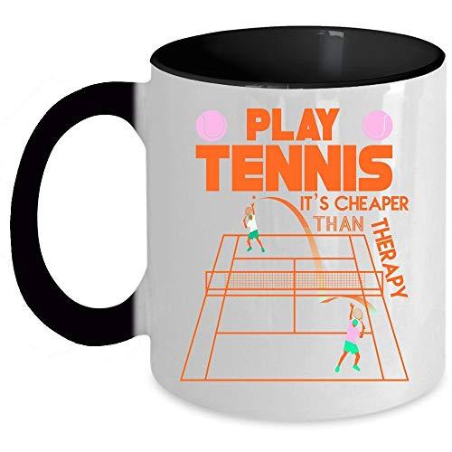 Tennis Player Coffee Mug, Play Tennis It's Cheaper Than Therapy Accent Mug (Accent Mug - Green) - Mug 11 oz accent mug - black