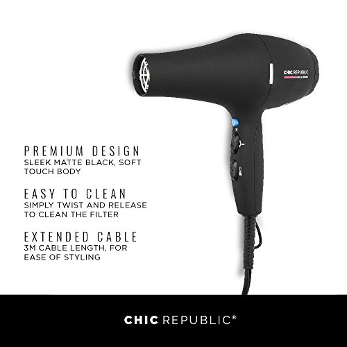 Professional Ionic Hair Dryer - Powerful Ceramic Blow Dryer - Quiet & Fast Hairdryer - Small, Ultra Lightweight Compact for Travel - 2 Diffuser Nozzles - 1875W - Premium Soft Touch Body by CHIC REPUBLIC (Image #1)