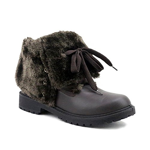 Olivia Miller Briarwood' Chocolate Lace Up Fur Cuff Boots 8 B(M) US (Outlet Briarwood)