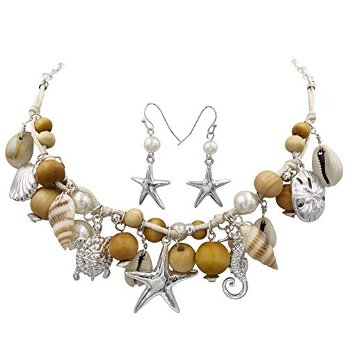 (Gypsy Jewels Mixed Sealife Nautical Boutique Textured Statement Necklace & Earrings Set (Brown Wood Silver Tone))