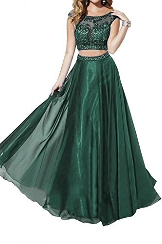 Toscana novia exquisitos vestidos de dos piezas de la gasa de tul de noche larga de fiesta vestidos de fiesta de baile duro Dunkel Gruen