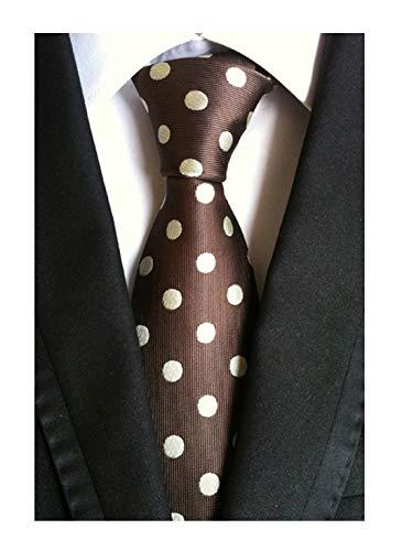 Men's Brown Coffee Self Tie White Polka Dots Pattern Textured Party Silk Necktie (Dress Dot Silk)