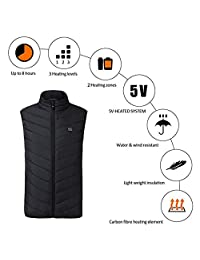 Heated Vest, Outdoor Riding Skiing Fishing USB Charging Heated Clothing Warmer Down Vest Heated Clothing for Outdoor Hike and Camp