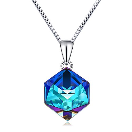 CAT EYE JEWELS Blue Crystal Pendant S925 Sterling Silver Color Changing Heart Necklace SW004 ()