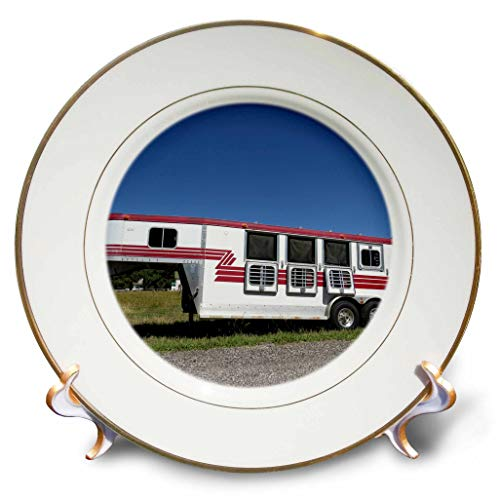 3dRose Jos Fauxtographee- Horse Trailer - A deep Blue Sky with a red and White Trailer for Horses - 8 inch Porcelain Plate (cp_295679_1)