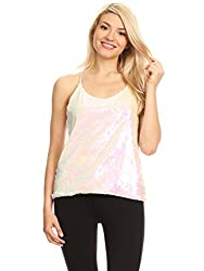 White(little Pink) Sequin Spaghetti Strap Crop Top