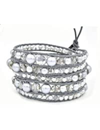 M&B Silver Pearl and Crystal Multi Layer Beaded Women's Wrap Leather Bracelet