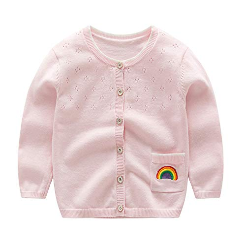 Autumn Spring Fashion Cardigans Baby Girl Sweater Cardigans Long Sleeve Knitted Toddler Girls Sweater Girl Clothing 2 6Y,Pink,5