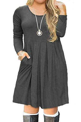 FOLUNSI Women's Plus Size Casual Long Sleeve Pleated T Shirt Dress with Pockets Gray XL