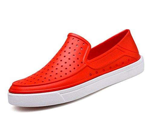 Crocs hombres transpirable ocio ligero hueco antideslizante calzado casual UE tamaño 39-45 Scarlet