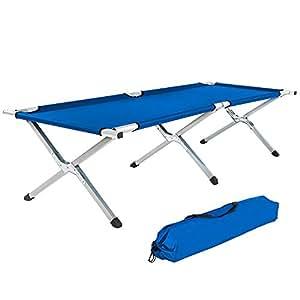 TecTake Cama de camping XL plegable capacidad de 150 kg + bolsa para transporte - disponible en diferentes colores y varias cantidades - (2x Azul | No. 402002)