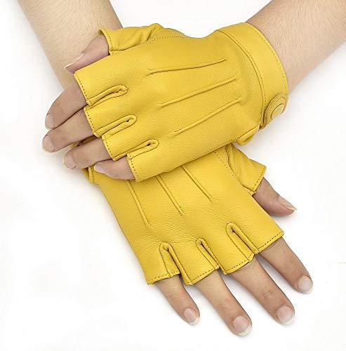 Swiftwears Genuine Sheepskin Leather Half Finger Driving Gloves for Women (Yellow, Small)
