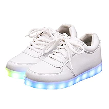 Zapatillas led, WER Unisex zapatillas luces LED de 7 colores con Carga de USB zapatos