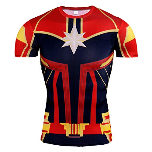 HIMIC E77C Hot Movie Super Hero Quick-Drying ElasticT-Shirt Costume (Medium, Captain Marvel Short Sleeve 2) -