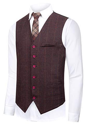 CMDC Men's Vest Slim fit Tweed Waistcoat V-Neck Herringbone Wool Plaid Suit Vest SI175-Purple-XL ()