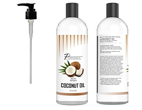 Pursonic 100% Pure Fractionated Coconut Oil, 16oz Oil for Massages, Therapeutic Recipes & Essential Oils (Coconut Essential Oils Massage Oil)