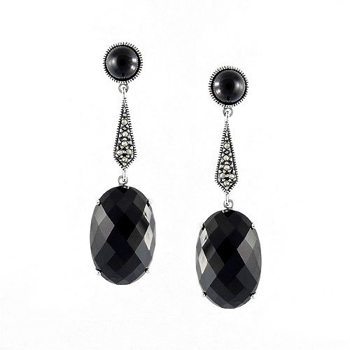 (Aura 925 Sterling Silver Marcasite Earring with Black Onyx Gemstone )