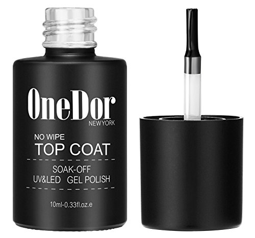 (OneDor One Step No Wipe Top Coat Gel Polish, UV Led Cured Required Soak Off Gel Nail Polish (No Wipe Top)
