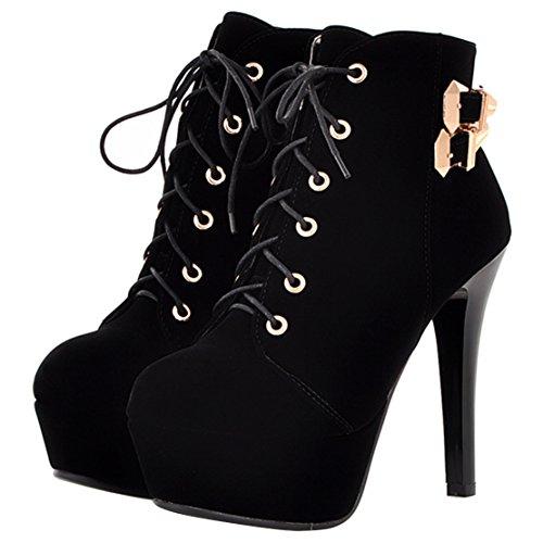 AIYOUMEI Damen Plateau Stiefeletten mit Schnalle und Schnürung Stiletto High Heels Schnürstiefeletten Elegant Party Schuhe Schwarz