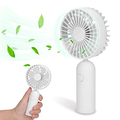 Avantree Mini Rechargeable Handheld Fan 3 Speeds, 2200mAh Battery Operated 4-8 Hours, Portable Desktop USB Fan, Lower Noise Personal Cooling Breeze - (Battery Operated Handheld Fan)