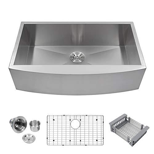 (Logmey LMA3320 Luxury 33 Inch Farmhouse Apron Deep Single Bowl 18 Gauge Stainless Steel Kitchen)