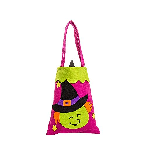 OOPP Halloween kids Candy Bag Packaging,Cute Trick or Treat Candy Storage Tote Bag With Handle,Children Party Storage Packaging Gift Bag for Halloween Costume Kids Dressing Up Party ( Witch ) - Cute Halloween Goody Bags