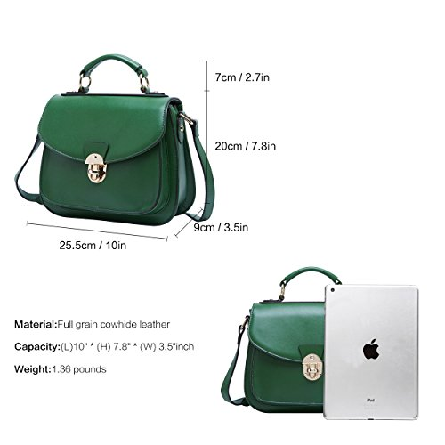 Handbag Cross Vintage Ladies Leather BOYATU Top Women body Green Retro for Handle Bag 5wYqfYXBxn