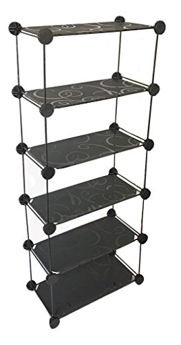 Metallic Shelving Unit (ALEKO Iron Wire with Graphic Panels Modular Shelving Unit Set Bathroom Shoes Office Storage)