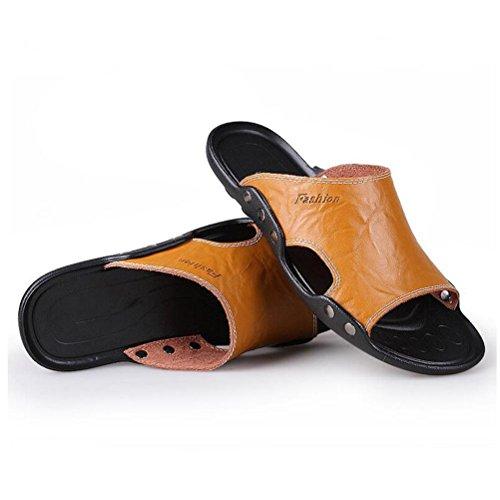 Zapatillas de cuero de los hombres fracasos hechos a mano de la vendimia sandalias de la manera y cómodas gold yellow