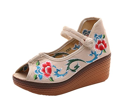 Mary AvaCostume Womens Wedge Sandals Traditional toe Peep Embroidery Beige Jane wZtSFAZq