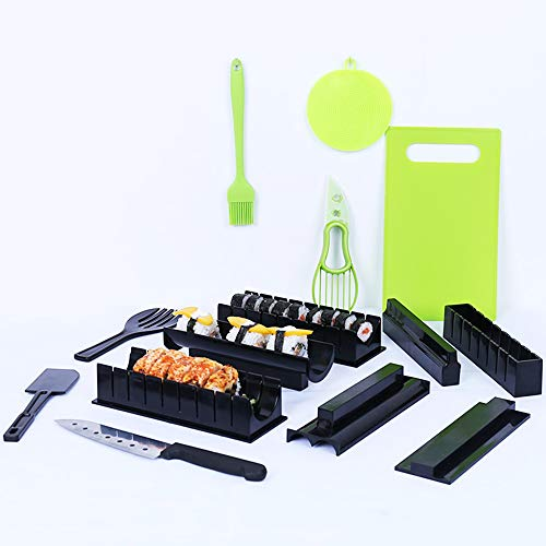 - Humorous.P 15 Pieces/Set Sushi Making Kit New DIY Plastic Easy Sushi Maker Machine Set Rice Roller Mold Roller Cutter Kitchen Cooking Tools