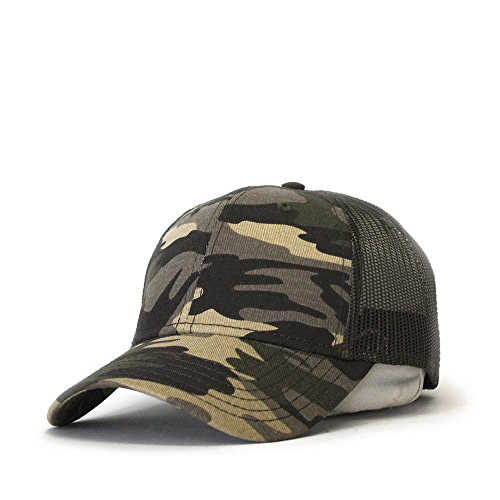 Vintage Year Plain Two Tone Cotton Twill Mesh Adjustable Trucker Baseball Cap (Camo/Olive Green Mesh)