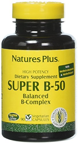 Natures Plus Super B50-90 Vegetarian Capsules – High Potency B Complex Vitamin Supplement, Brain & Energy Booster, Anxiety Reducer, Stress Reliever, Mood Enhancer- Gluten Free – 90 Servings