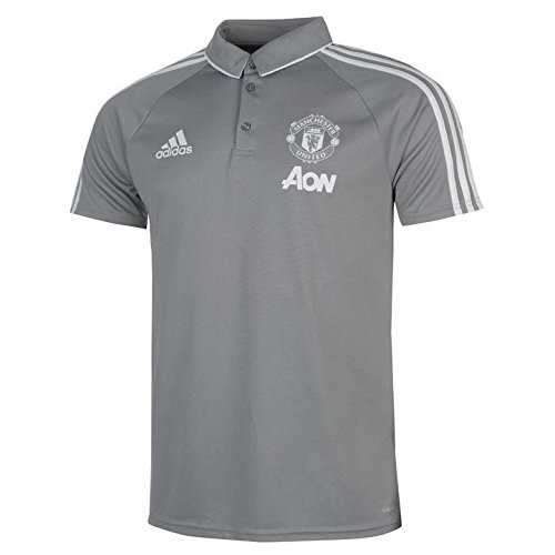 adidas 2017-2018 Man Utd Training Polo Football Soccer T-Shirt Jersey (Grey) -
