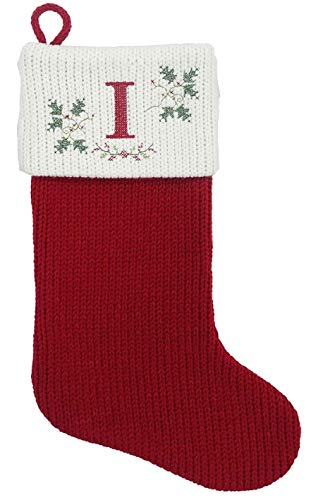 St. Nicholas Square 21-inch Monogram Embroidered Cross Stitch Initial Cable Knit Red Christmas Holiday Stocking (Letter I)