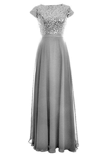 Dress Silber MACloth Long Wedding Sleeve Gown Women Chiffon Cap Party Birdesmaid Sequin 00aAq