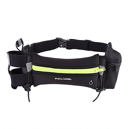Sport Hüfttasche, P.KU.VDSL® Gürteltasche mit Flaschenhalter + Pocket und Reflexstreifen für Nachtsichtbarkeit Wasserdicht Verstellbar Gurt Lauftasche Hüfttasche Geeignet für Most Smartphone
