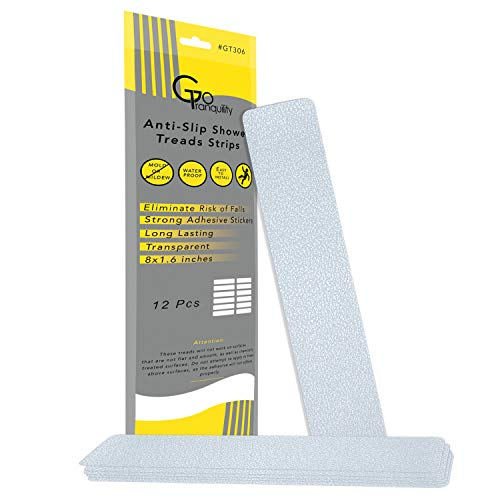 GoTranquility Non Slip Safety Shower Grip Treads to Prevent Slippery Surfaces in The Bathtub Clear PEVA Strips Anti-Slip Stickers (Strips)