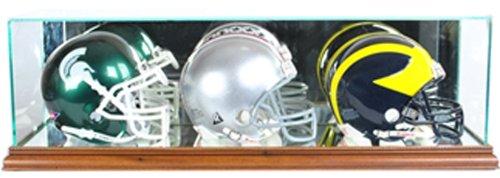 Brown Case Helmet (NFL Triple Mini Football Helmet Glass Display Case, Walnut)