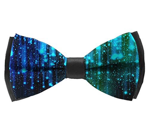 Black and Blue Neon Lights Mens Pre-Tied Formal Tuxedo Bowtie for Adults & Children -